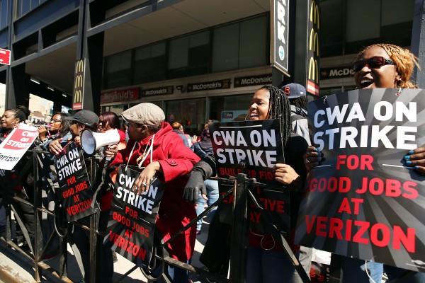 威瑞森4萬員工美東遊行罷工 桑德斯聲援
