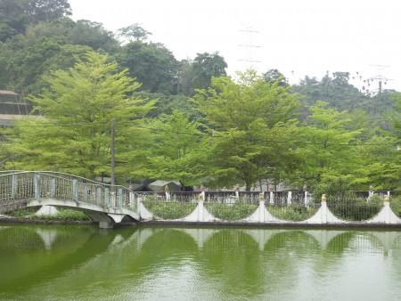 地母庙前的湖光山色,令人心旷神怡,是春游的好地方。(廖素贞/大纪元)