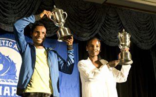 组图:波士顿马拉松 埃塞俄比亚选手揽双金