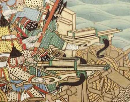 朝鲜之役绘图中明朝军船上的连弩(公有领域)