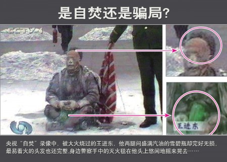 央視的「天安門自焚事件」錄像畫面被慢鏡頭分析,暴露出很多疑點。(明慧網)