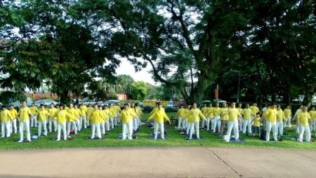 2016年5月8日,法轮功学员来到首都吉隆坡著名旅游景点——蒂蒂旺莎湖滨公园举行集体炼功,纪念法轮大法洪传二十四周年。 (杨晓慧/大纪元)