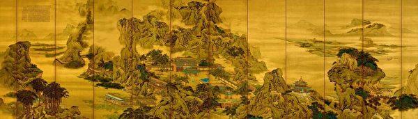 清‧袁江〈阿房宮圖〉十二條屏,絹本設色,縱194.5cm,橫60.5cm,北京故宮博物院藏。(公有領域)