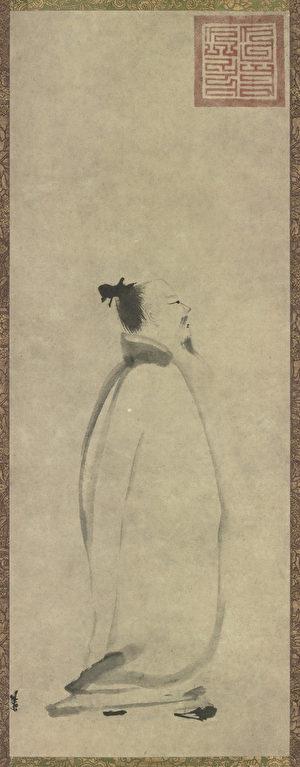 南宋梁楷作〈太白行吟圖〉,現藏於日本東京國立博物館。(公有領域)