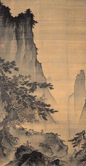 明人繪(舊傳南宋馬遠)〉對月圖〉軸,詮釋李白〉月下獨酌〉中「舉杯邀明月,對影成三人」的詩意。台北故宮博物院藏。(公有領域)