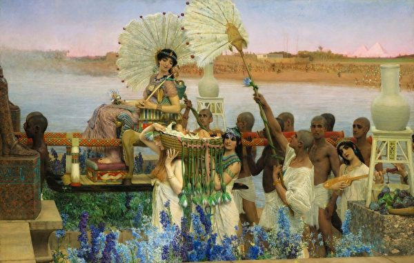 [英]勞倫斯‧阿爾瑪—塔德瑪爵士(Sir Lawrence Alma-Tadema),《發現摩西》(The Finding of Moses),布面油畫,1904年作,136.7×213.4cm,私人收藏。(公有領域)