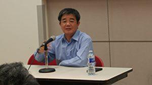 图:大陆著名律师郭国汀正在演讲,反思文革的惨痛教训。 (邱晨/大纪元)