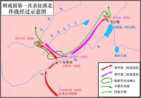 明成祖第一次亲征漠北示意图(Zhuwq/维基百科)
