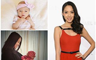 張梓琳和她剛出生14天的女兒。(微博圖片,Getty Images for Michael Kors/大紀元合成)