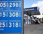 美国加州SAN RAFAEL市的一处加油站,公布的油价信息。 (Justin Sullivan/Getty Images)