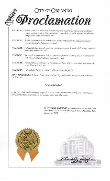 """奥兰多市市长巴迪 代尔(Buddy Dyer)宣布二零一六年五月十三日为奥兰多市""""法轮大法日"""" 。"""