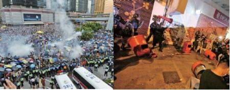 左圖:14年9月28日,警方從傍晚6時起在中環一帶,向和平請願市民施放數十枚催淚彈。右圖:今年年初一,警民在旺角街頭爆發流血衝突。(大紀元資料圖片)