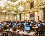 """2016年6月2日,颇受华裔质疑的""""亚裔细分法案""""AB 1726在加州众议会过关。图为议会场面。(马有志/大纪元)"""