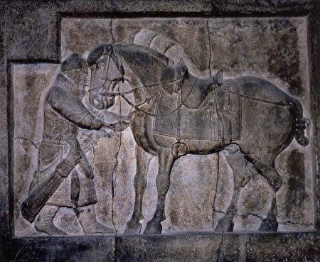 昭陵六駿浮雕之颯露紫,丘行恭(左)正為其拔箭,現藏美國賓州大學考古與人類博物館。(公有領域)