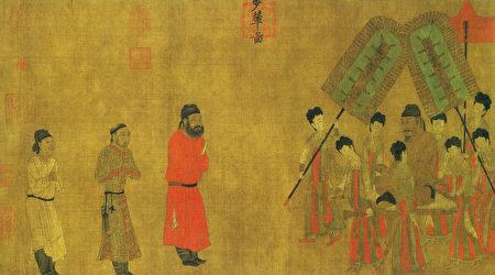 唐閻立本〈步輦圖〉描繪了吐蕃使節祿東贊(左三)朝見唐太宗(右中)的場面,北京故宮博物院藏。(公有領域)