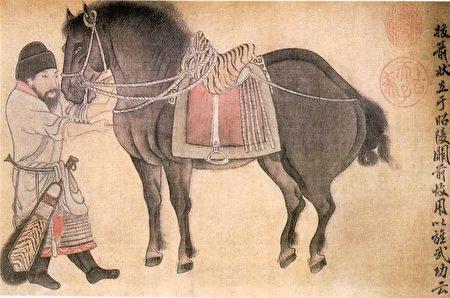 金代趙霖〈昭陵六駿圖卷〉中描繪的颯露紫,丘行恭(左)正為其拔箭,北京故宮博物院藏。(公有領域)