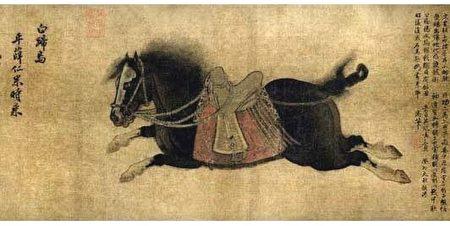 金代趙霖〈昭陵六駿圖卷〉中描繪的白蹄烏,北京故宮博物院藏。(公有領域)