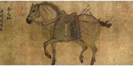 金代趙霖〈昭陵六駿圖卷〉中描繪的拳毛騧,其左為丘行恭,北京故宮博物院藏。(公有領域)