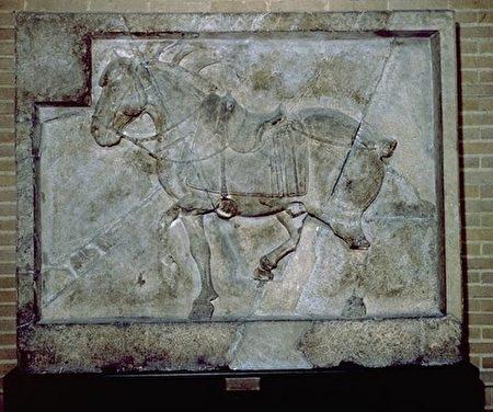 昭陵六駿浮雕之拳毛騧,現藏美國賓州大學考古與人類博物館。(公有領域)