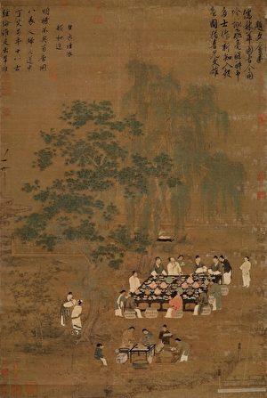 (傳)宋徽宗趙佶〈文會圖〉(〈唐十八學士圖〉),台北故宮博物院藏。(公有領域)