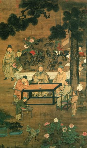 宋人《十八學士圖屏》(部分),絹本設色,台北故宮博物院藏。(公有領域)