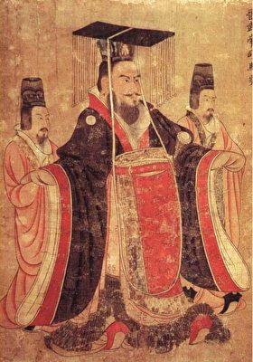 晋武帝司马炎画像,唐阎立本绘《历代帝王图》,美国波士顿美术馆藏。(公有领域)