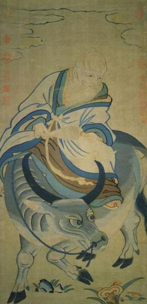 宋緙絲《青牛老子圖》,老子在函谷關寫下五千言《道德經》,寫完後便騎牛向西而去。現藏台北故宮博物院。(公有領域)