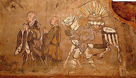 敦煌壁畫中的玄奘取經圖。(公有領域)