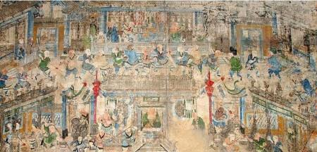 河南嵩山少林寺千佛殿内的十三棍僧护秦王壁画。(公有领域)