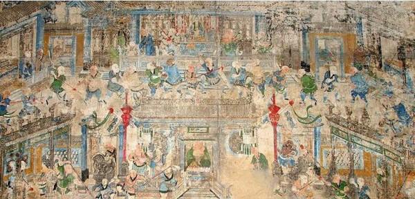 河南嵩山少林寺千佛殿內的十三棍僧護秦王壁畫。(公有領域)