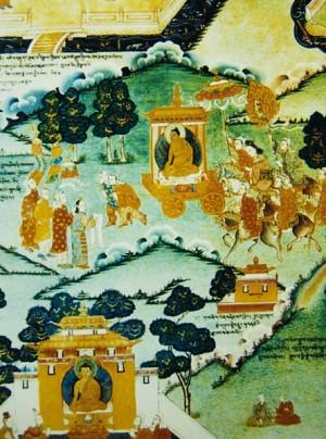 羅布林卡壁畫〈文成公主入藏圖〉。(公有領域)