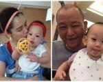 右邊為徐若瑄愛子與姥爺合照;左邊為徐若瑄與愛子合照。(臉書圖片/大紀元合成)