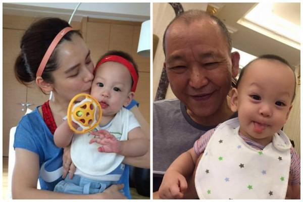 徐若瑄愛子與姥爺合照 髮線都一樣獲讚基因強