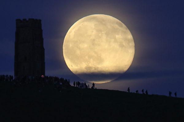 组图:纽约夜空罕见的草莓月亮