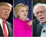 美國總統參選人(左起)川普、希拉里、桑德斯(大紀元合成圖)