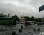 近日,广州遭大暴雨袭击,多地水浸,有城区积水过胸口,有工人游泳去上班。据官方消息,今年汛期降水量偏多,南方主要江河水位均已高于1998年同期,14个省(区、市)144条河流超警。图为广州暴雨。(网络图片)
