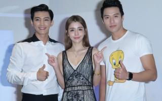 李毓芬推出單曲,感謝粉絲支持於2016年6月8日在台北舉行慶功粉絲見面會。圖左起為炎亞綸、李毓芬、張睿家。(黃宗茂/大紀元)