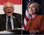 美國民主黨總統參選人桑德斯(左)和希拉里。(大紀元合成圖)