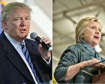 根據最新全國民調,第三黨加入選戰,希拉里領先川普的優勢。(Getty images/大紀元合成)