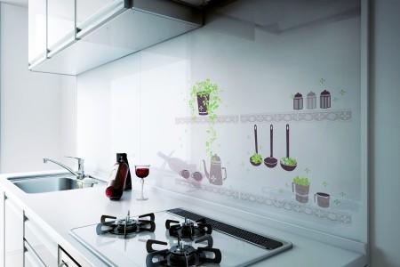 瓦斯爐前壁面,宜選用油垢容易擦拭不留下油漬的面材。(威肯設計提供)