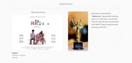 圖為導演洪馬克短片作品《替生》於「好萊塢國際電影獎」勇奪8大獎。(洪馬克提供)