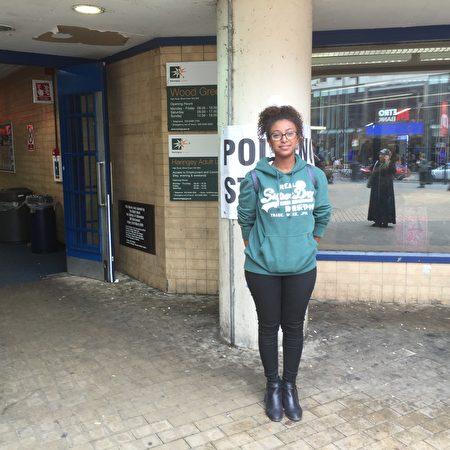 倫敦女選民Sara Saleh(大紀元)