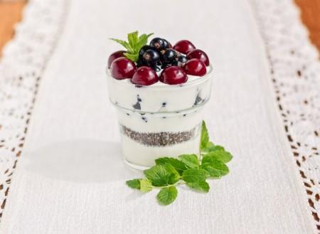 玻璃希腊酸奶甜点酸樱桃,黑醋栗,薄荷叶。(fotolia)