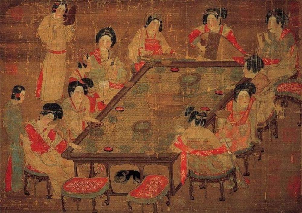《唐朝宮樂圖》。(公有領域)