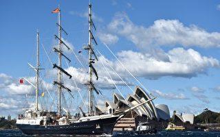 """世界最壮观木帆船""""顽强号""""抵达悉尼"""
