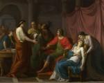 1787年由艺术家绘制的《维吉尔对奥古斯都和屋大薇朗诵埃涅阿斯纪》,现藏伦敦国家美术馆。描绘诗人维吉尔亲自向皇帝奥古斯都朗诵诗作,皇帝的妹妹小屋大薇被诗歌的内容感动,抑制不住情感而昏倒。(公有领域)