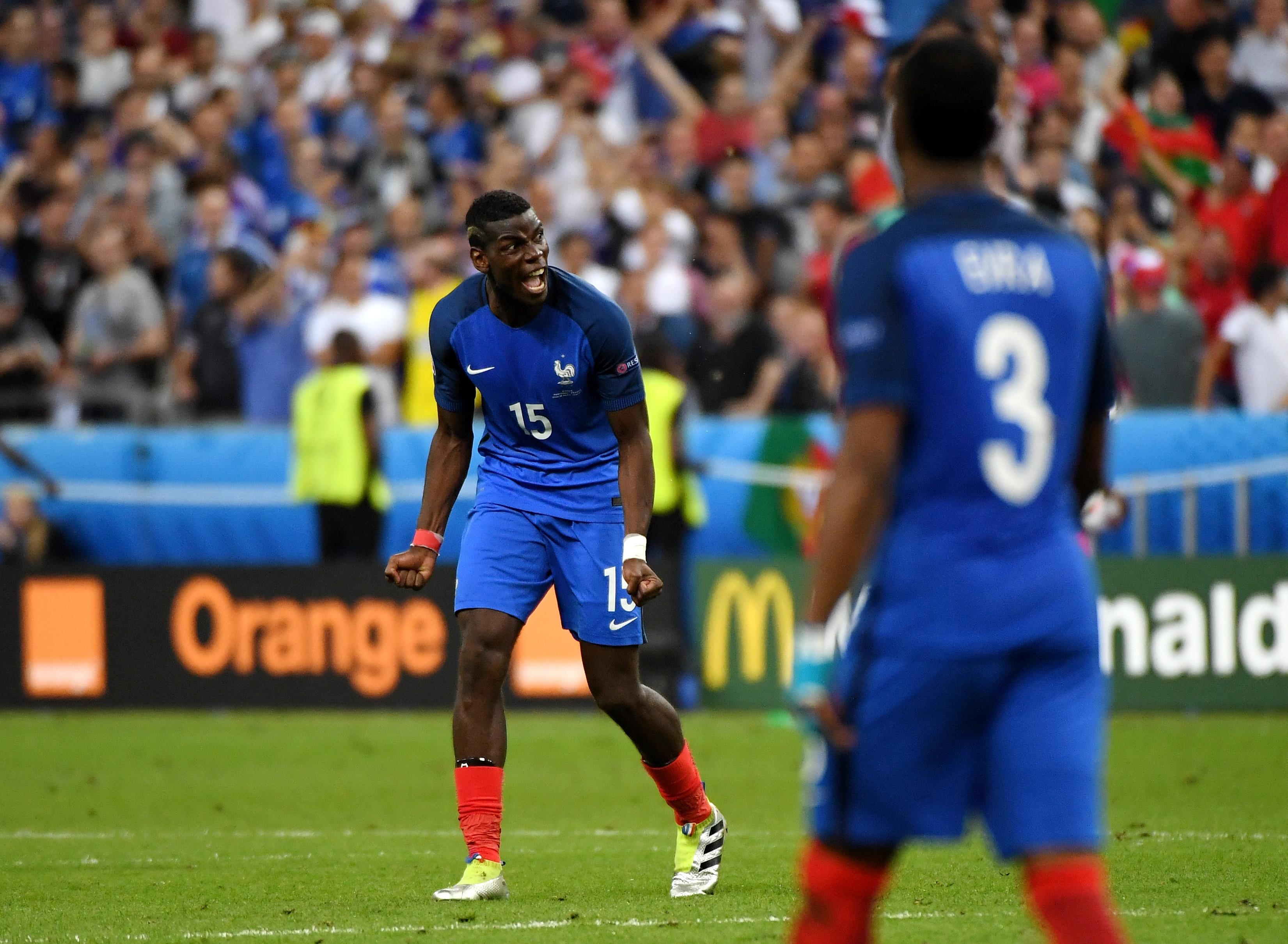 法國中場保羅普巴在葡萄牙隊射門得分後的不悅的表情。(Mike Hewitt/Getty Images)