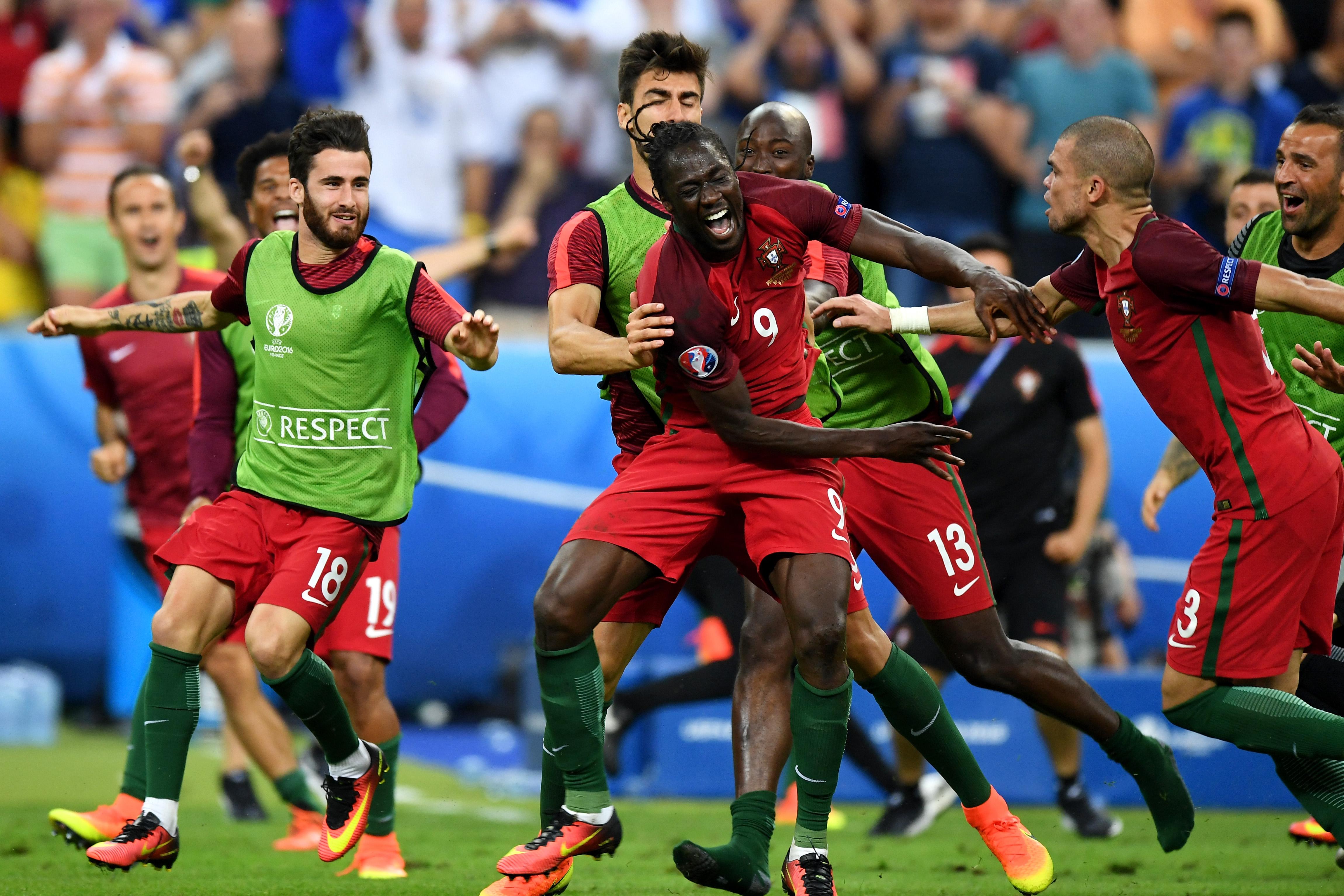 葡萄牙隊替補登場的球員艾達盧比斯進球後欣喜若狂。(Michael Regan/Getty Images)