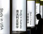 2008年5月,一名中國學生在瀏覽北京一個國際教育博覽會。(STR/AFP/Getty Images)