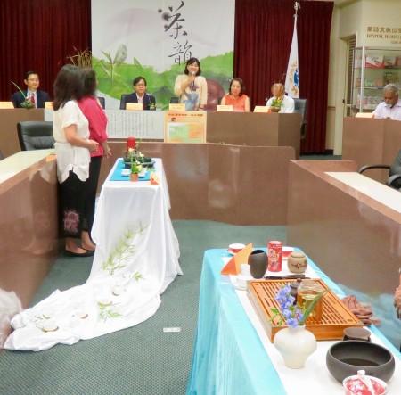 28日主辦單位茶文化學會會長楊綺真表示,自古以來,曲水流觴便是文人交流、學習、展示文采的方式。(袁玫/大紀元)